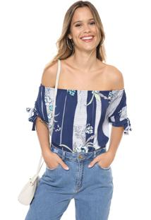 Blusa Cativa Ombro A Ombro Estampada Azul