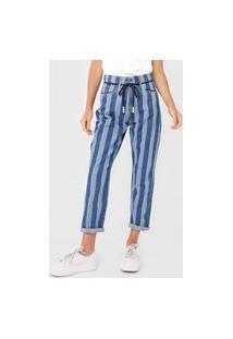 Calça Jeans Cantão Slim Baggy Listra Azul