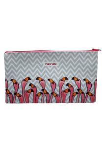 Necessaire Pelicanos Branco E Rosa