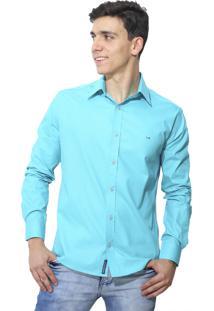 Camisa Slim Victor Deniro Azul Napoles