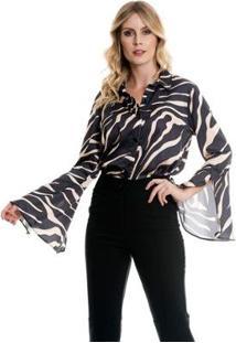 Camisa Bisô Flare Estampada Feminino - Feminino-Preto