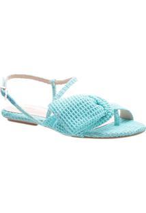 Sandália Rasteira Com Laço - Azul Claro -Schutz
