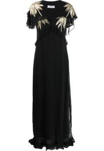 Ailanto Vestido Com Aplicações - Preto