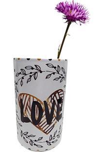 Vaso De Cerâmica Branco Love And Flowers 40385 Urban Home
