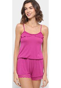 Pijama Curto Hope Macaquinho De Alcinha Feminino - Feminino-Pink