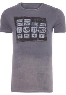 Camiseta Masculina Manga Curta Placas Surton - Cinza