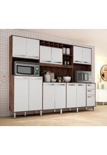 Cozinha Compacta Ágata 13 Pt 2 Gv Castanho E Branca