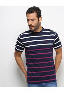 Camiseta Aleatory Fio Tinto Duo Color Masculina - Masculino-Marinho+Branco