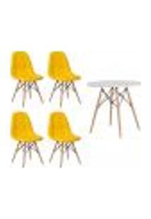Conjunto 4 Cadeiras Eames Botonê Amarela + 1 Mesa Eames 80Cm Branca Base Madeira Sala Cozinha