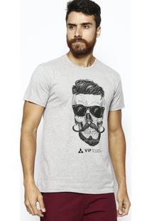 Camiseta Caveira- Cinza & Pretavip Reserva