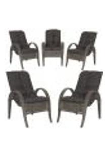 Cadeiras 5Un P/ Jardim Lazer Edicula Varanda Descanso Fibra E Tramas Napoli Plus Pedra Ferro A21