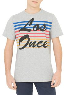 Camiseta Los Once Striped Color Cinza