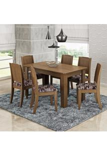 Conjunto Sala De Jantar Mesa 6 Cadeiras Bárbara Cimol Color Flex Savana/Floral Bordô