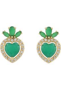 Brinco Narcizza Coração Esmeralda Com Detalhes Em Micro Zircônia Cristal Ouro