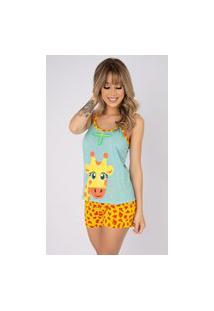Baby Doll Bella Fiore Modas Pijama Curto Verão Girafa Azul Claro