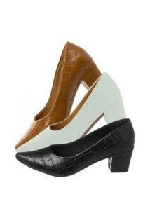 Kit 3 Sapatos Scarpin Bico Fino Salto Grosso Conforto Preto Croco, Caramelo Croco E Branco