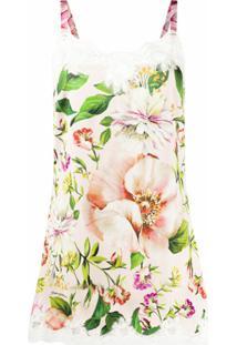Dolce & Gabbana Vestido Com Estampa Floral E Acabamento Em Renda - Rosa
