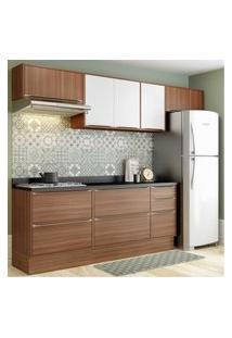 Cozinha Completa Multimóveis Com 8 Peças Calábria 5456R Nogueira/Branco Marrom
