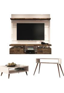 Painel Tv Livin 1.6 Com Mesa De Centro Lucy E Aparador Quad Off White/