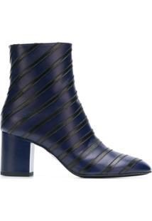 Sonia Rykiel Ankle Boot Listrada De Couro - Azul