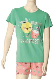 Pijama Feminino Curto Malwee 1000088379 00109-Verd