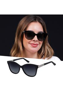 Óculos De Sol Feminino Acetato Preto Polarizado Uv 400