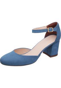 d1a180558 Privalia. Sapato Bico Arredondado Tradicional Com Salto Feminino Azul  Nobuck Jeans Couro ...