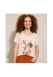 Camiseta De Viscose Com Estampa De Folhagens Manga Curta Bege Claro
