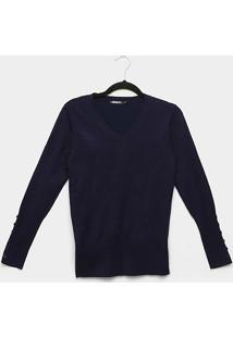 Suéter Tricot Miose Gola V Botões Feminino - Feminino