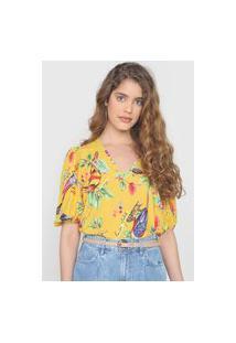 Blusa Colcci Mangas Bufantes Tropical Amarela