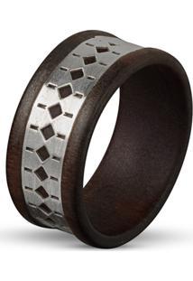 Anel Wooden Design Sapo - Madeira E Prata