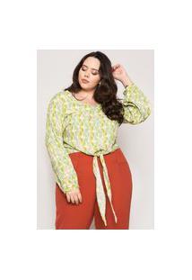 Blusa Almaria Plus Size Minha Linda Viscose Estampado Verde