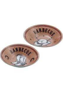 Jogo De Bowls Para Molho Barbecue- Marrom & Preto- 2Decor Glass