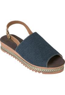 Sandália Plataforma Jeans Com Fivela