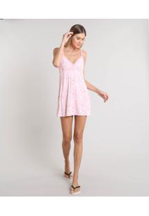 Camisola Feminina Estampada Floral Com Renda Alça Fina Rosa