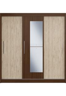 Guarda-Roupa 3 Portas De Correr C/ Espelho 3 Gavetas Rubi Decibal Moveis Cacau/Malbec