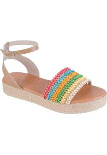 Sandália Flatform Jurerê Mercedita Shoes Feminina - Feminino-Bege