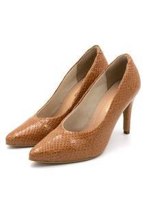 Sapato Scarpin Salto Alto Fino Em Napa Vancouver Caramelo