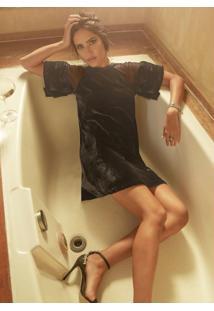 Vestido De Veludo Preto Com Transparência