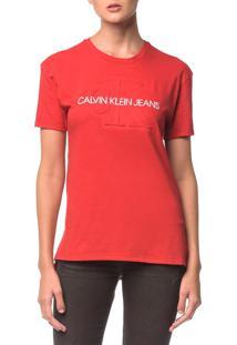Blusa Ckj Fem Logo Embossesd - Vermelho - Pp