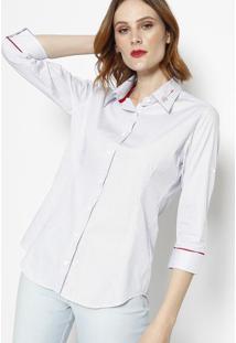 Camisa Listrada Com Recortes- Off White & Azul Marinho