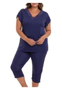 Pijama Capri Liganete (2470) Marinho - Plus Size