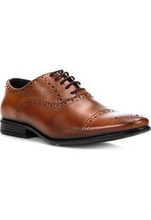Oxford Couro Shoestock Brogues Masculino - Masculino-Caramelo
