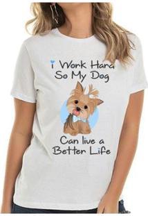 Camiseta Yorkie Boy Buddies Feminina - Feminino-Branco