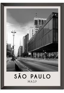 Quadro 65X45Cm Cidades São Paulo Brasil Moldura Preta Com Vidro - Oppen House Decora