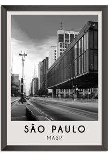 Quadro 65X45Cm Cidades Sã£O Paulo Brasil Moldura Preta Com Vidro - Oppen House Decora - Preto - Dafiti