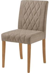 Cadeira Menta Assento Cor Bege Com Base Nogal - 46448 - Sun House