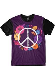 Camiseta Long Beach Simbolo Da Paz Florido Sublimada - Masculino-Roxo