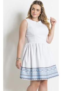 Vestido Quintess Branco E Azul Evasê Plus Size
