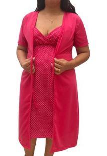 Conjunto Camisola De Alcinha Amamentação Com Robe Maternidade Linda Gestante - Unissex-Pink